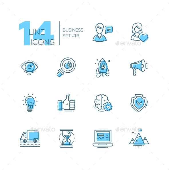 Business - Coloured Modern Single Line Icons Set - Web Technology