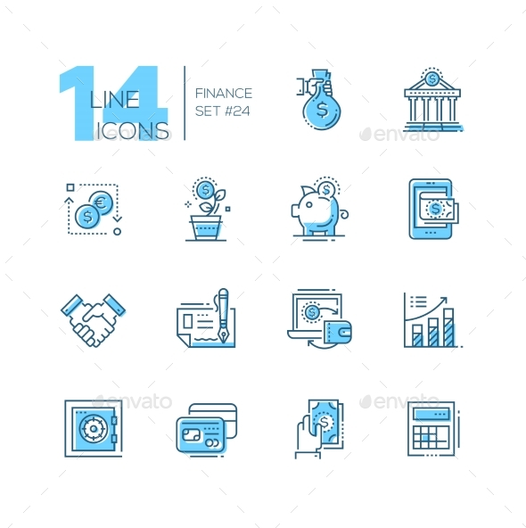 Finance - Coloured Modern Single Line Icons Set - Web Technology