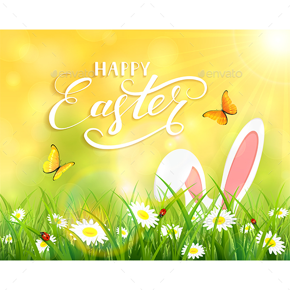 Yellow Background with Easter Bunny in Grass - Animals Characters