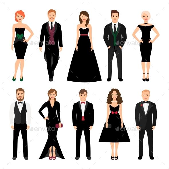 Elegant Fashion People Illustration - People Characters