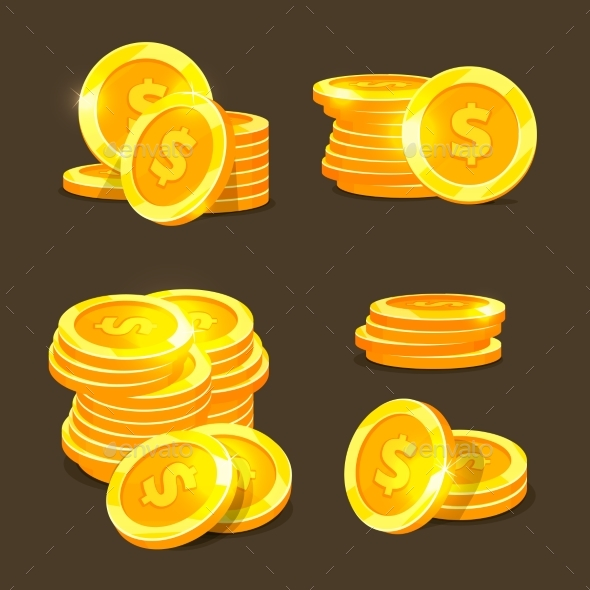 Gold Coins Vector Icons - Man-made Objects Objects
