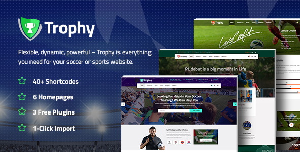 Trophy – A Dynamic Soccer Club, Sports, and Coaching Theme