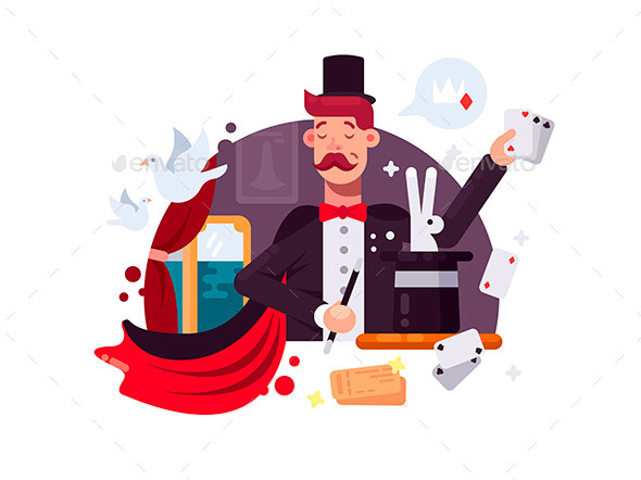 Magician in Cylinder and Cloak - People Characters