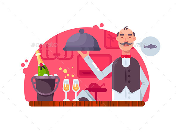 Waiter with Dish Near Table - People Characters