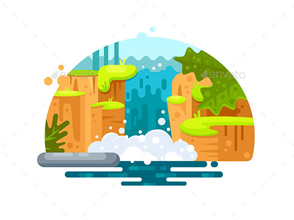 Natural River Waterfall - Miscellaneous Vectors