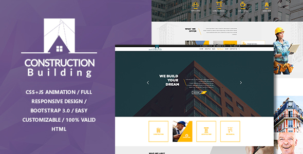 Image of myConstruction - Bootstrap Landing Page HTML Template