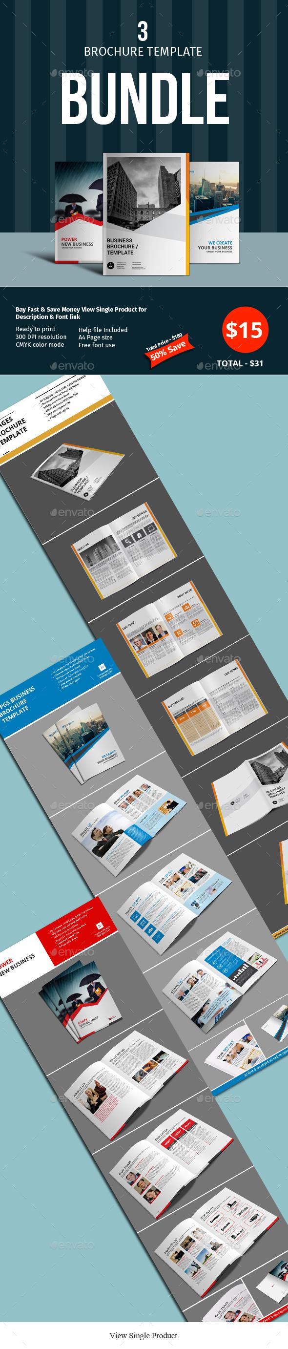 8 Pages 3 Brochure Template Bundle - Corporate Brochures