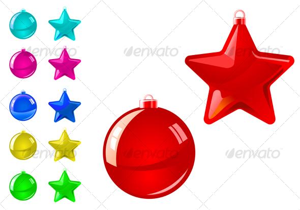 Glossy holiday balls and stars - Decorative Symbols Decorative