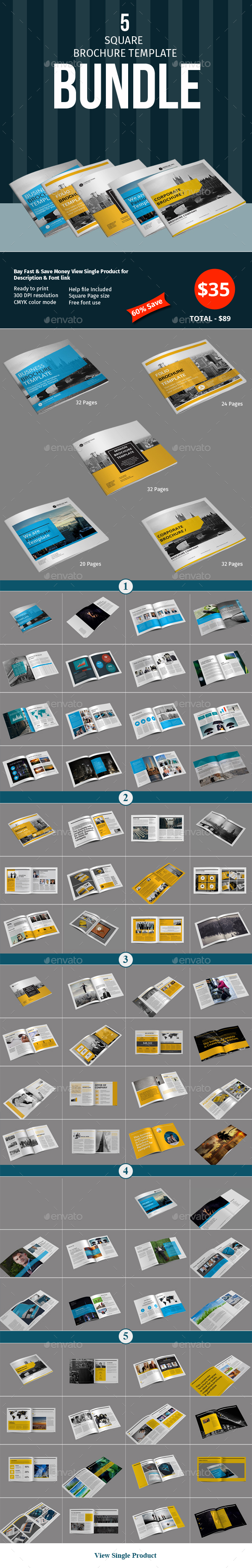 Square Brochure Template Bundle - Corporate Brochures