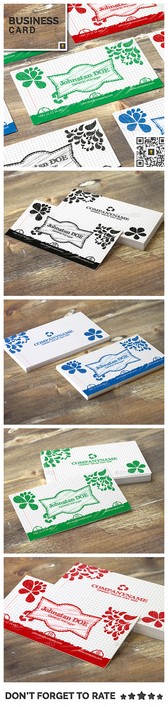 Modern Business Card Sketch Template - Print Templates