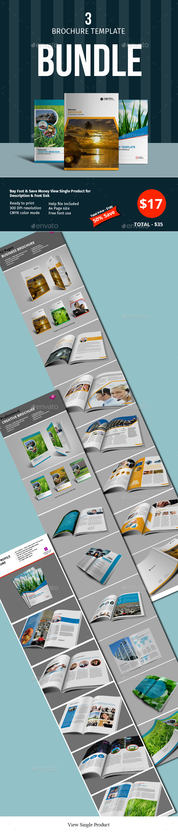 12 Pages 3 Brochure Template Bundle - Corporate Brochures