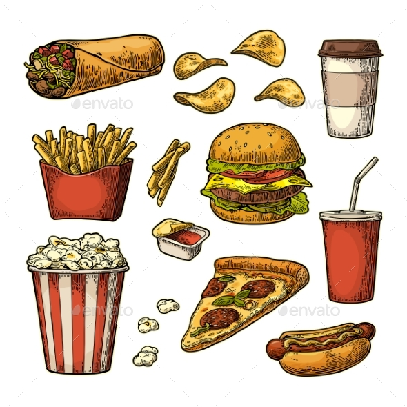 Set of Fast Food - Food Objects
