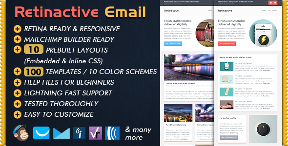 Retinactive Responsive Flat Email Template - Email Templates Marketing