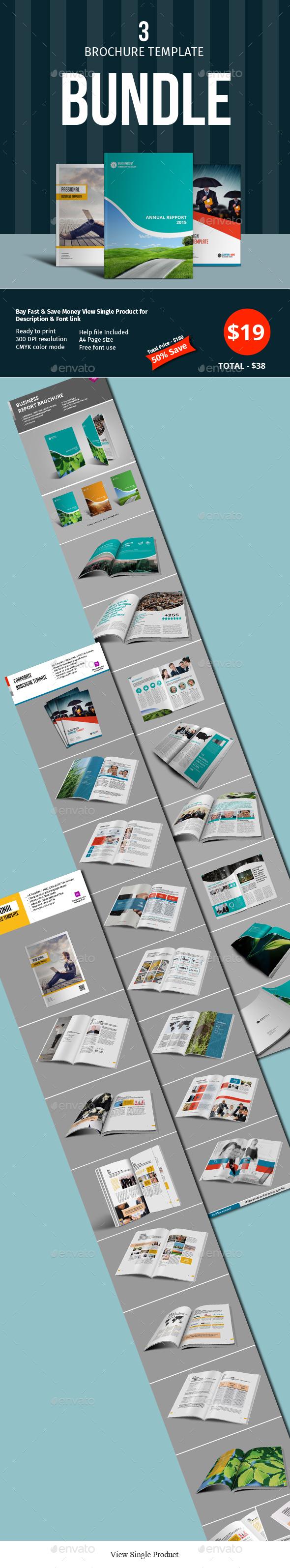 16 Pages 3 Brochure Template Bundle - Corporate Brochures