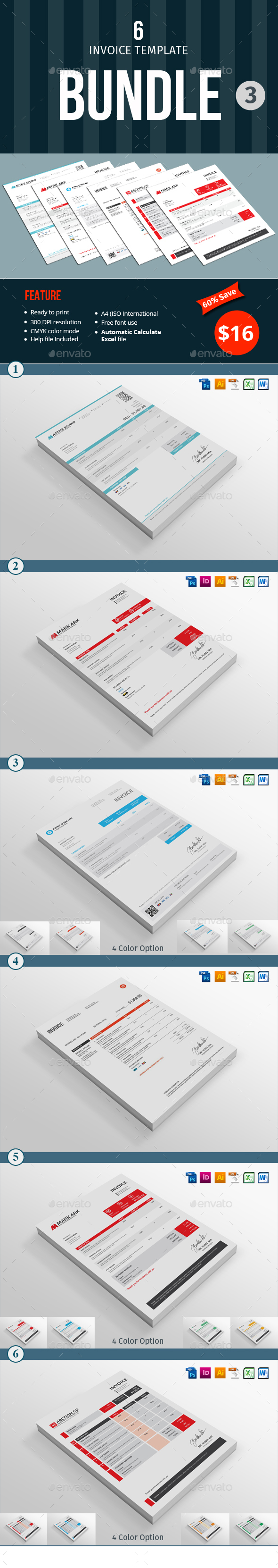 Invoice Template Bundle - 3 - Proposals & Invoices Stationery