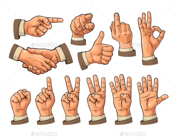 Male and Female Hand Signs - People Characters