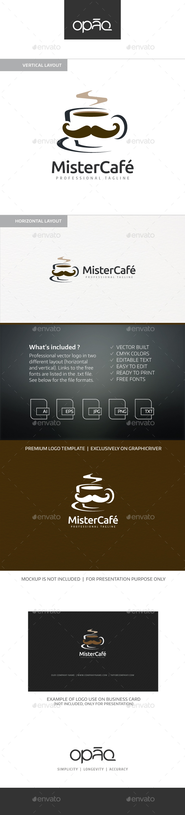 Mister Cafe Coffee Logo - Food Logo Templates