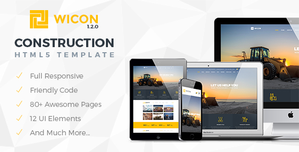 WICON | Construction & Building HTML Template - Corporate Site Templates