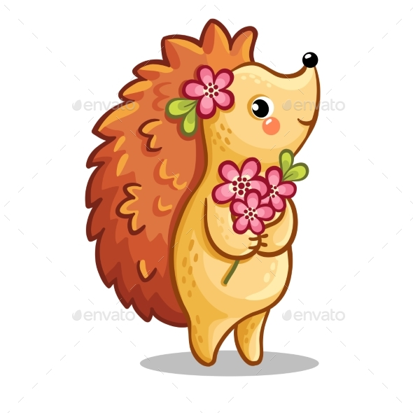 Hedgehog with Bouquet of Flowers - Valentines Seasons/Holidays