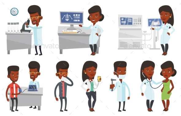 Set of Doctor Characters and Patients - Health/Medicine Conceptual