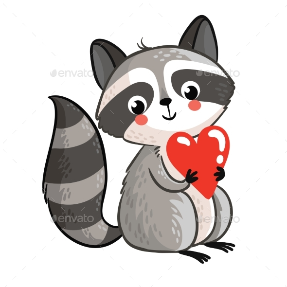Raccoon Holding in the Hands of the Heart - Valentines Seasons/Holidays