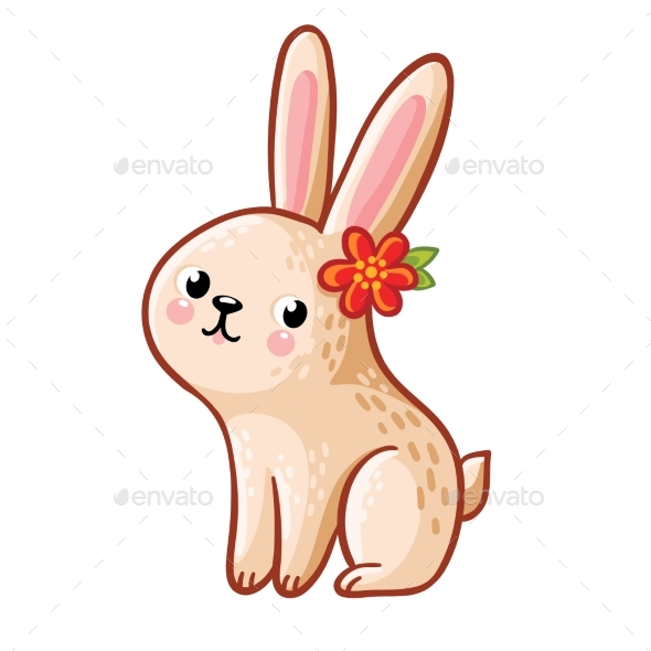 Hare with Flower Illustration - Animals Characters
