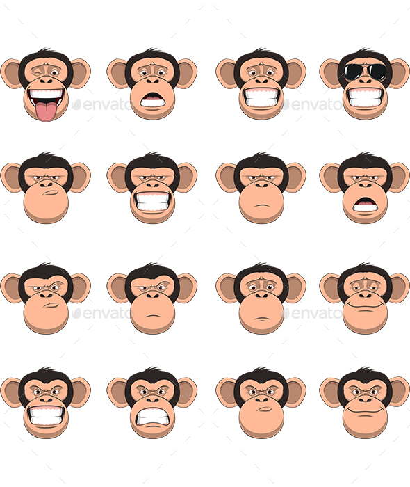 Monkey Head Set - Animals Characters