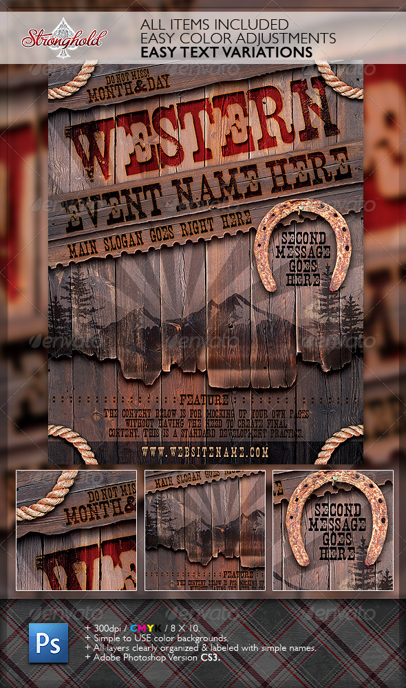 Vintage Western Wood Flyer Template By Getstronghold Graphicriver