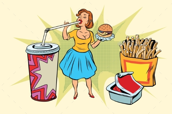 Pop Art Woman and Fast Food - People Characters