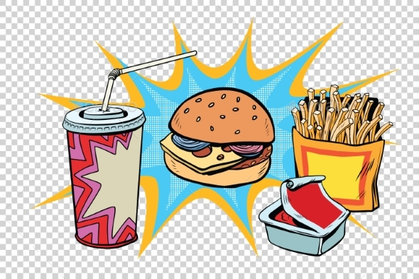 Fast Food Set Burger Fries Drink and Sauce - Food Objects