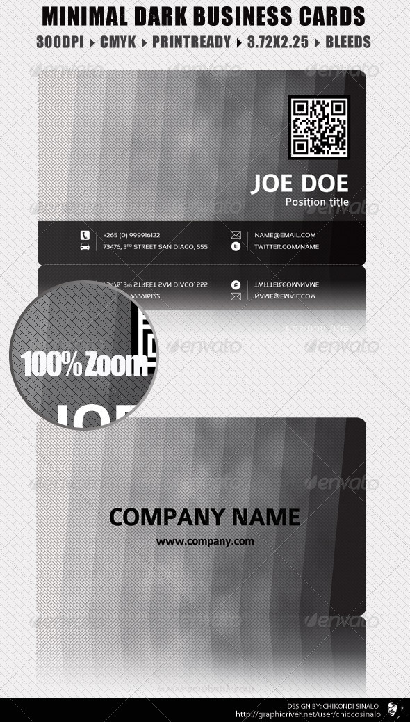 Minimal Dark Business Card - Corporate Business Cards