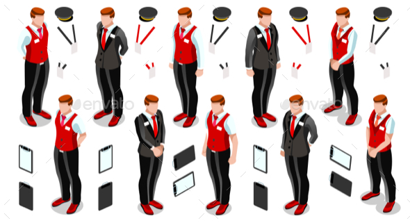 Isometric Person Work Icon Set - People Characters