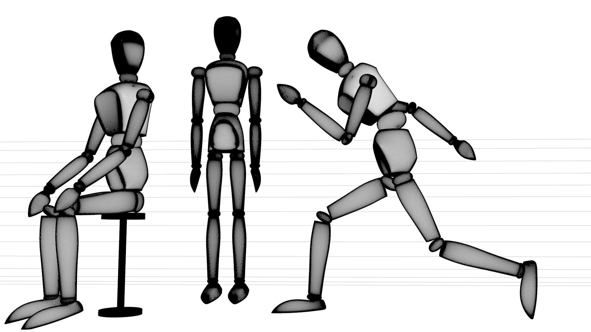 Low Poly Mannequin Postures By Ooworks 3docean