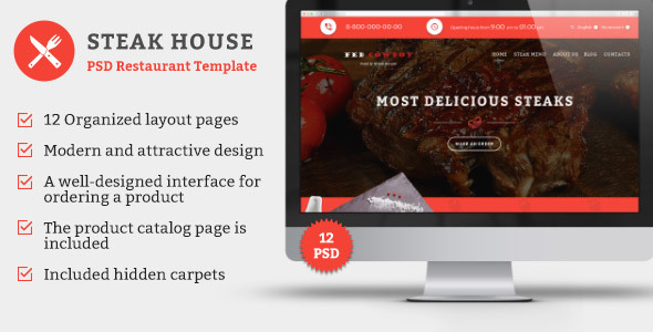 Steak House — PSD Template - Food Retail