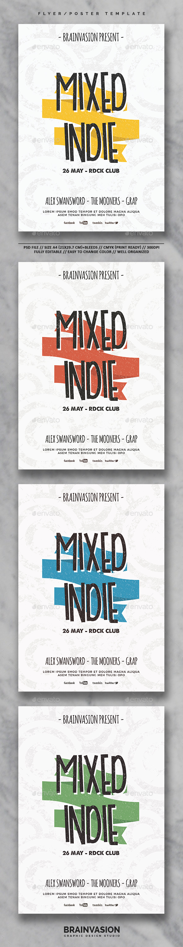 Indie Flyer/Poster Template Vol.26 - Concerts Events