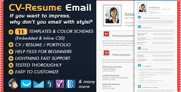 Newsletter Templates CV Folio - Email Resume / Portfolio / CV Newsletter - Email Templates Marketing