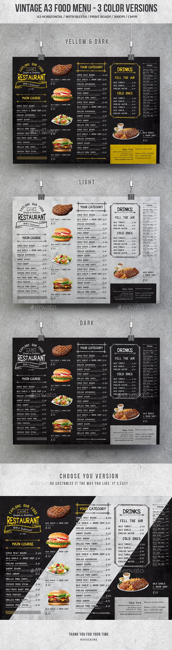 Vintage A3 Food Menu - 3 Color Versions - Food Menus Print Templates