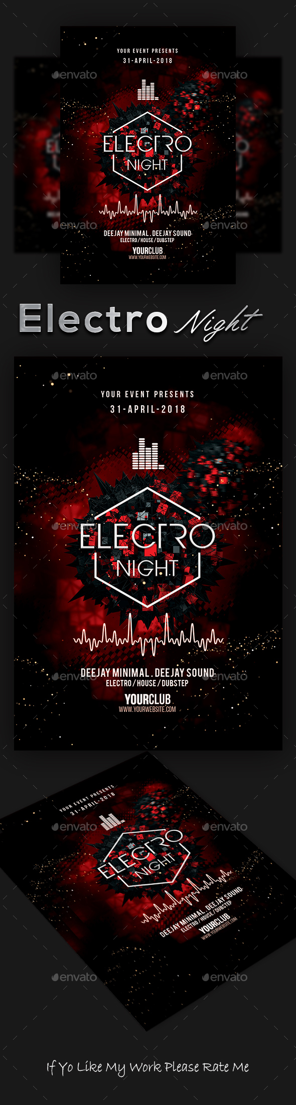 Electro Night Party Flyer - Clubs & Parties Events