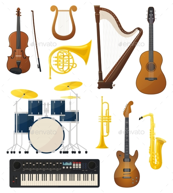 Guitar and Drums, Violin, Lyre Music Instruments - Landscapes Nature