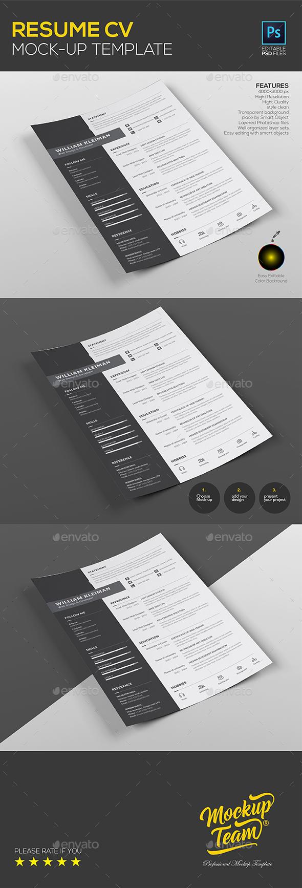 Resume CV Mock up Template - Print Product Mock-Ups