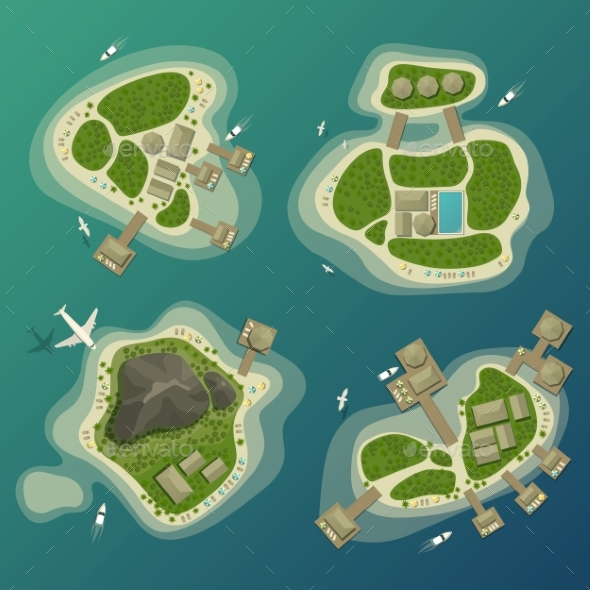 Tropical Islands Top View, Travel and Tourism Sign - Travel Conceptual