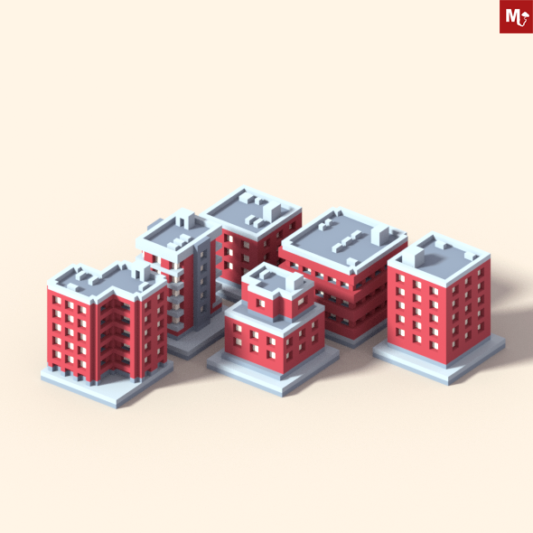 Low Poly Isometric Buildings Pack