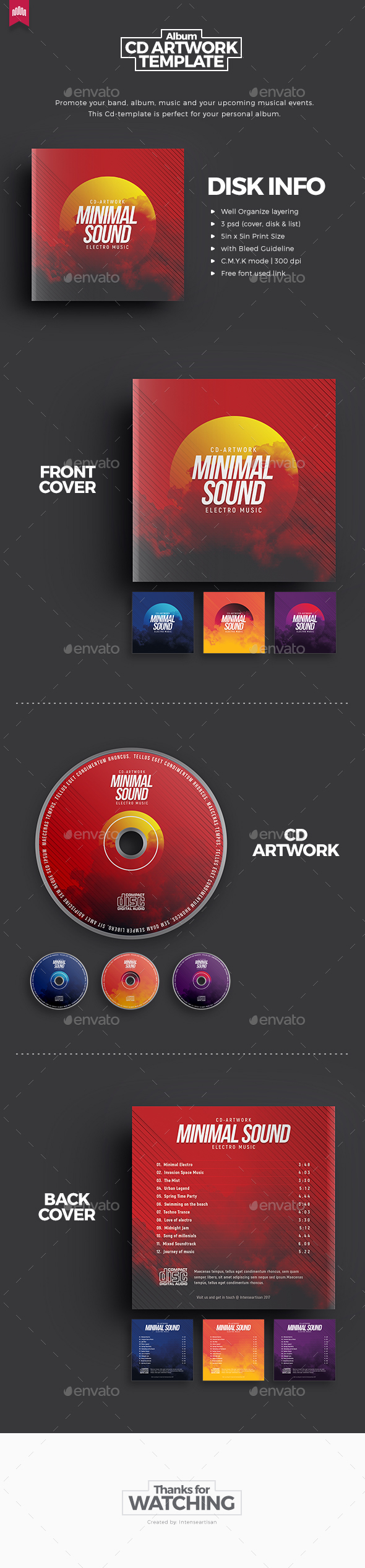 Minimal Sound V.3 - Cd Artwork - CD & DVD Artwork Print Templates