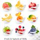 Big Сollection Of Fruit And Berries In Milk Splash. - GraphicRiver Item for Sale