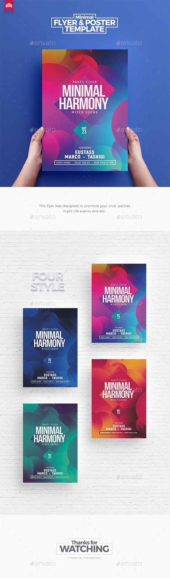 Charming Minimal Harmony   Flyer Template   Clubs U0026 Parties Events