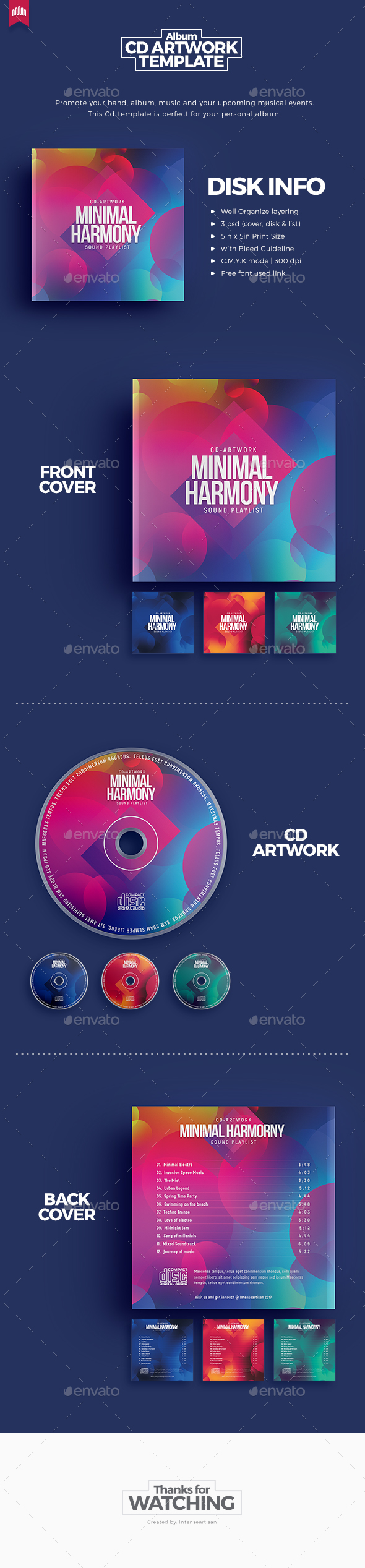 Minimal Harmony - Cd Artwork - CD & DVD Artwork Print Templates