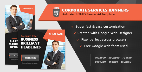 HTML5 Ads - Corporate Services Animated Banner Templates (GWD) - CodeCanyon Item for Sale