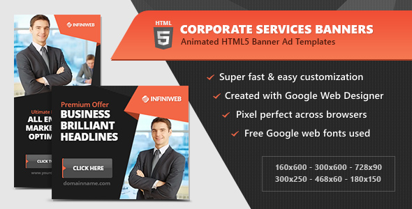 HTML5 Ads - Corporate Services Animated Banner Templates (GWD) by ...