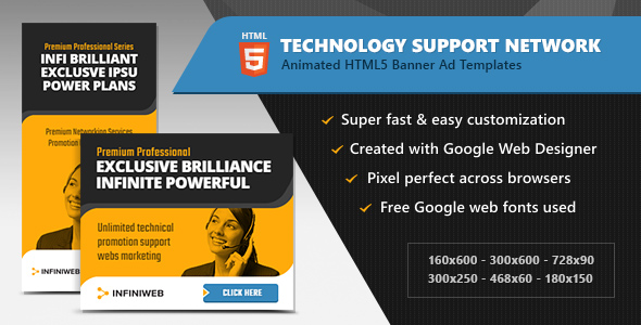 HTML5 Ads - Technology Support Network Banner Templates (GWD) - CodeCanyon Item for Sale