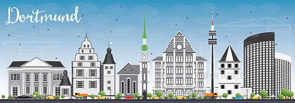 Dortmund Skyline with Gray Buildings and Blue Sky. - Buildings Objects